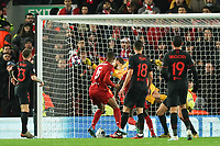 Football - 2019 / 2020 UEFA Champions League - Round of Sixteen, Second Leg: Liverpool (0) vs. Atletico Madrid (1)<br /> <br /> Liverpool's Georginio Wijnaldum scores his sides first goal  , at Anfield.<br /> <br /> <br /> COLORSPORT/TERRY DONNELLY
