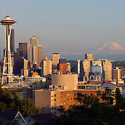 Seattle, Washington Skyline with Space Needle and Mount Rainier near sunset<br />