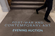 """London, England, UK, October 2 2018 - """"Post-war and contemporary art"""" exhibition in the galleries of Christie's on King Street, 2 days before the auction."""