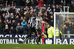 NEWCASTLE, ENGLAND - Saturday, December 11, 2010: Newcastle United's Fernando Torres celebrates scoring his side's third goal against Liverpool during the Premiership match at St James' Park. (Photo by: David Rawcliffe/Propaganda)