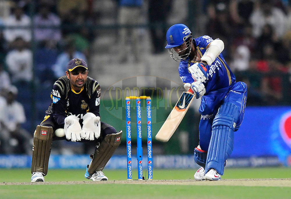Ajinkya Rahane of the Rajatshan Royals bats during match 19 of the Pepsi Indian Premier League 2014 Season between The Kolkata Knight Riders and the Rajasthan Royals held at the Sheikh Zayed Stadium, Abu Dhabi, United Arab Emirates on the 29th April 2014<br /> <br /> Photo by Pal Pillai / IPL / SPORTZPICS