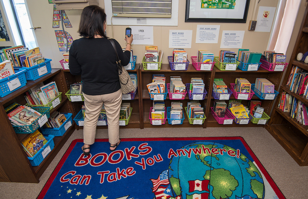 Principal Rita Graves leads a Guided Reading Tour at Roberts Elementary School, June 10, 2014.