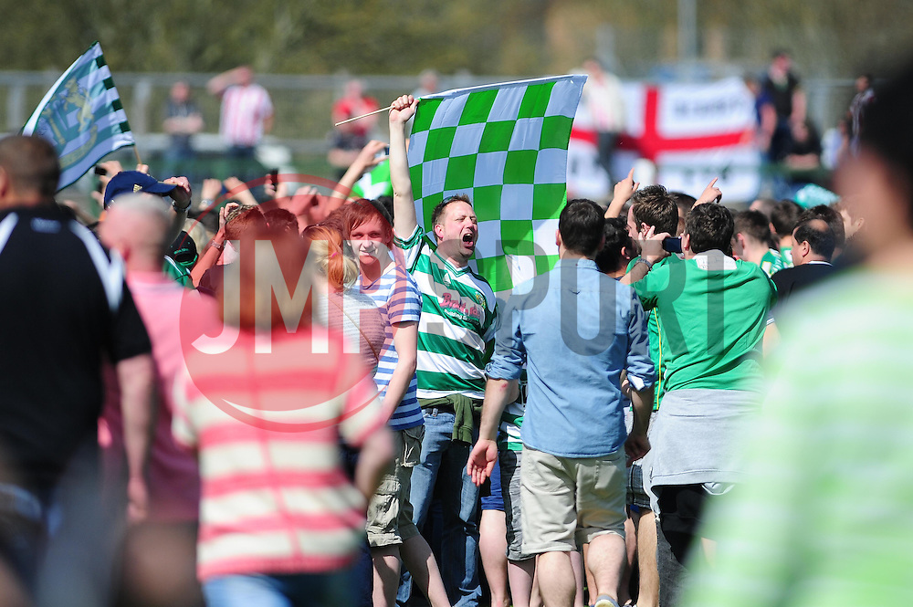 Yeovil Town fans run onto the pitch as Yeovil Town make the play off final - Photo mandatory by-line: Dougie Allward/JMP - Tel: Mobile: 07966 386802 06/05/2013 - SPORT - FOOTBALL - Huish Park - Yeovil - Yeovil Town V Sheffield United - NPOWER LEAGUE ONE PLAY-OFF SEMI-FINAL SECOND LEG