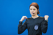 Emily Carney 4th Official ahead of the FIFA Women's World Cup UEFA warm up match between England Women and New Zealand Women at the American Express Community Stadium, Brighton and Hove, England on 1 June 2019.