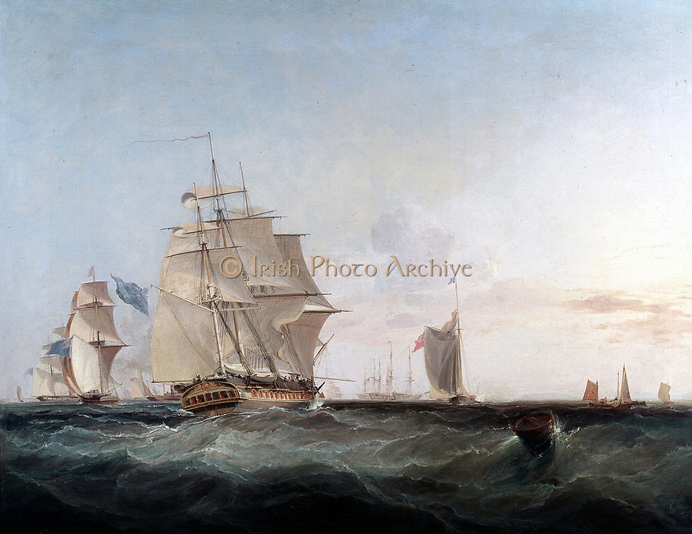 Merchantmen and other shipping in the English Channel'  Oil on canvas by the British painter George Chambers (1803-1840)