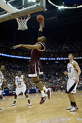 Virginia Tech Hokies forward Coleman Collins (33) shoots a lay up against SIU.  The #4 seed Southern Illinois Salukis defeated the #5 seed Virginia Tech Hokies 63-48 in the second round of the Men's NCAA Basketball Tournament at the Nationwide Arena in Columbus, OH on March 18, 2007.