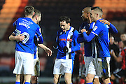 GOAL STEVEN DAVIES CELEBRATES SCORING 2-0 during the EFL Sky Bet League 1 match between Rochdale and Shrewsbury Town at Spotland, Rochdale, England on 30 December 2016. Photo by Daniel Youngs.