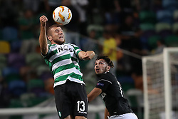 September 20, 2018 - Lisbon, Portugal - Sporting's defender Stefan Ristovsk from Macedonia vies with Qarabag's midfielder Mahir Madatov during the UEFA Europa League Group E football match Sporting CP vs Qarabag at Alvalade stadium in Lisbon, on September 20, 2018. (Credit Image: © Pedro Fiuza/NurPhoto/ZUMA Press)
