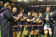 Edinburgh players applaud Benetton off the pitch after winning the Guinness Pro 14 2018_19 match between Edinburgh Rugby and Benetton Treviso at Murrayfield Stadium, Edinburgh, Scotland on 28 September 2018.