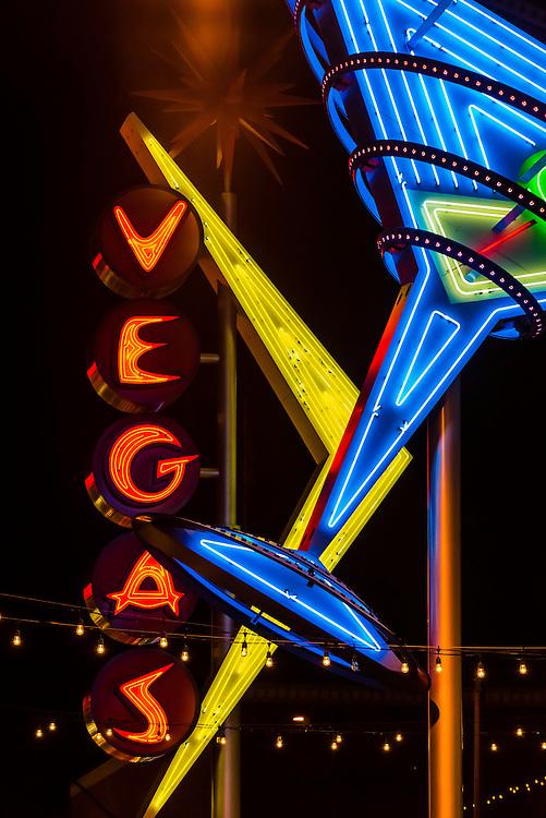 Martini glass neon sign, Downtown Las Vegas, Nevada USA.