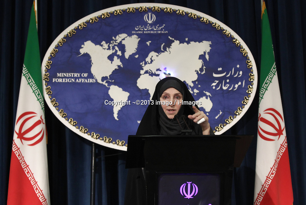 60454633<br /> Iranian new Foreign Ministry spokeswoman Marzieh Afkham speaks during her first weekly press briefing in Tehran, capital of Iran, on Sept. 10, 2013. Afkham announced on Tuesday that Iran supported the Russian proposal to place Syrian chemical weapons under international control, Tehran, Iran, September 10, 2013.<br /> Picture by imago / i-Images<br /> UK ONLY