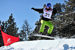 Snowboarder Cross Action, PATMORE Simon, AUS at the 2016 IPC Snowboard Europa Cup Finals and World Cup