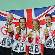 Track Cycling - Olympics: Day 8  The Great Britain team of Katie Archibald, Laura Trott, Elinor Barker and Joanna Rowsell-Shand with their gold medals after winning the  the Women's Team Pursuit Final during the track cycling competition at the Rio Olympic Velodrome August 12, 2016 in Rio de Janeiro, Brazil. (Photo by Tim Clayton/Corbis via Getty Images)