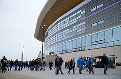 General view of fans arriving at the Rhein-Neckar-Arena ahead of the match