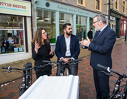 Pictured: Pictured: Clara Walker, Forth Environment Link Chief Executive, Humza Yousa and  Pete Reid, Growth & Investment Manager <br /> Transport minister Humza Yousaf MSP opened Falkirk's active travel hub. The resource will encourage people to make healthier, greener travel choices. <br /> <br /> <br /> Ger Harley | EEm 6 February 2018