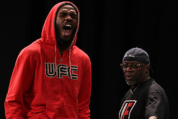 Atlanta, GA - April 20, 2012: UFC Light Heavyweight Champion Jon Jones during the weigh-in for UFC 145 at the Fox Theatre in Atlanta, Georgia.