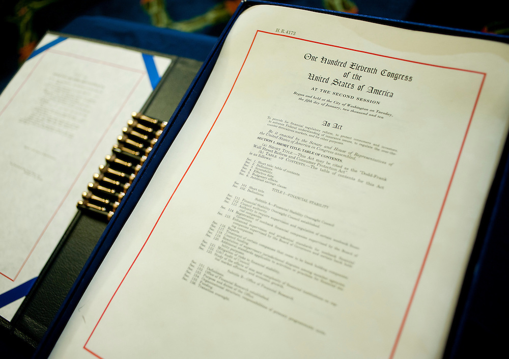 Jul 15, 2010 - Washington, District of Columbia, U.S., - The Wall Street Reform Bill awaits signing during a bill enrollment ceremony in the Capitol on Thursday. The bill will now be sent to President Barack Obama for his signature. (Credit Image: © Pete Marovich/ZUMA Press)