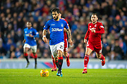 Daniel Candeias (#21) of Rangers FC sprints forward during the Ladbrokes Scottish Premiership match between Rangers and Aberdeen at Ibrox, Glasgow, Scotland on 5 December 2018.