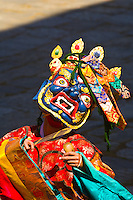 Masked dancers at the Paro Tsechu (Festival), Paro, Bhutan