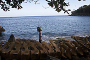whale bones are display in the beach of lamalera. Residents in the lamalera village, Indonesia cathing  sperm whales with traditional method to provide meals for the entire village and part of the Lembata island where the village is located..