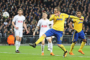 Juventus striker Gonzalo Higuain (9) scoring goal to make it 1-1 during the Champions League match between Tottenham Hotspur and Juventus FC at Wembley Stadium, London, England on 7 March 2018. Picture by Matthew Redman.