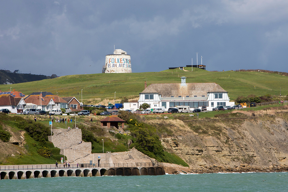 The Folkestone is an Art School banner, attached to Folkestone's most prominent Martello Tower on the east cliff. The banner has been designed by the artist Bob and Roberta Smith as part of the 2017 Folkestone Triennial. Folkestone, Kent.(photo by Andrew Aitchison / In pictures via Getty Images)