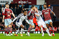 Saido Berahino of West Bromwich Albion (centre) celebrates scoring his team's first goal to make it 1-1 during the Barclays Premier League match at the Boleyn Ground, London<br /> Picture by David Horn/Focus Images Ltd +44 7545 970036<br /> 01/01/2015