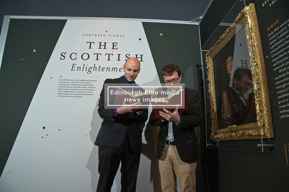 Pictured:  Ralph McLean, Curator of Manuscripts for the Long 18th Century and Robert Betteridge, Curator of 18th Century Printed Collections<br /> <br /> A major exhibition exploring the Scottish Enlightenment, Northern Lights,  opens at the National Library of Scotland on Friday 21 June.<br /> The exhibition takes a fresh look at one of the most concentrated periods of intellectual enquiry the world has ever seen, a time when polymaths peer-reviewed, challenged and encouraged one another's work through the many social networks available to them.<br /> Household names connected with the Scottish Enlightenment such as David Hume and Adam Smith feature in the exhibition, as well as other figures less commonly associated with it such as Robert Burns and James Watt. A rare first edition of Encyclopaedia Britannica will be on display, as will a first edition of Smith's Wealth of Nations and countless unique manuscripts.<br /> <br /> Northern Lights is curated by Robert Betteridge, Curator of 18th Century Printed Collections, and Ralph McLean, Curator of Manuscripts for the Long 18th Century. It explores the Scottish Enlightenment through the display of rare books and manuscripts from 18th Century Scotland, and is grouped into themes: pre-Enlightenment Scotland, moral philosophy and religion, social science and academic innovation, language and literature, art and architecture, science and medicine, and sociability and society.<br /> Northern Lights opens on Friday 21 June and runs until 18 April 2020 at the National Library of Scotland, George IV Bridge, Edinburgh EH1 1EW. Entry is free.<br /> <br /> <br /> <br /> Ger Harley   EEm 20 JUne