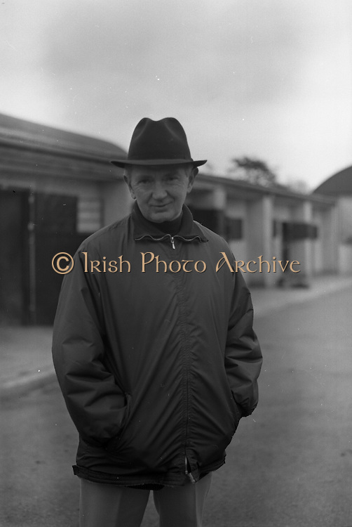 """Vincent O'Brien with 'Sir Ivor' at O'Brien Stables, Cashel. """"Sir Ivor' was owned by American businessman and U.S. Ambassador to Ireland, Raymond R. Guest. The horse was named for his British grandfather, Sir Ivor Guest, 1st Baron Wimborne. 'Sir Ivor' won three races in 1967, the Grand Criterium at Longchamp and the National Stables and the Probationers State at the Curragh. .11.03.1968"""