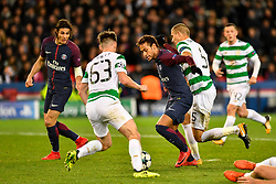 PARIS, Nov. 23, 2017  Neymar (2nd R) of Paris Saint-Germain competes with Jozo Simunovic (1st R) and Kieran Tierney (2nd L) of Celtic FC during the Group B match of 2017-18 UEFA Champions League in Paris, France on Nov. 22, 2017. Paris Saint-Germain won 7-1 at home. (Credit Image: © Chen Yichen/Xinhua via ZUMA Wire)