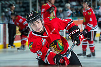 KELOWNA, CANADA - APRIL 8: Evan Weinger #25 of the Portland Winterhawks warms up with a shot on net against the Kelowna Rockets on April 8, 2017 at Prospera Place in Kelowna, British Columbia, Canada.  (Photo by Marissa Baecker/Shoot the Breeze)  *** Local Caption ***