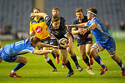 Chris Dean (#12) of Edinburgh Rugby attempts to split the Dragons defence during the Guinness Pro 14 2018_19 match between Edinburgh Rugby and Dragons Rugby at BT Murrayfield Stadium, Edinburgh, Scotland on 15 February 2019.