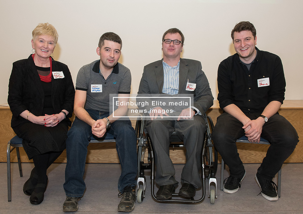 "A short film about the challenges faced by disabled people when trying to access public transport will screen as part of film showings at Edinburgh cinemas during Disabled Access Day this weekend (10-12 March). <br /> The short film has been launched by Edinburgh based charity get2gether, who work with almost 500 disabled adults in Edinburgh and the Lothians by organising social events and encouraging members to take initiative. <br /> The film, ""Buggy Off"", was created by get2gether Member and Ambassador Karen Sutherland with the support of Media Education and is based on one of Karen's many personal experiences. The film was launched at the Grassmarket Community Project in Edinburgh on Wednesday 8 March before screening ahead of films at the Cameo and Filmhouse over the weekend. Pictured: Panel for post-film discussion Marion Smith, CEO, get2gether, Alasdair McLean, get2gether Board member, Ryan Johnston acting on behalf of his partner and film-maker Karen Sutherland (Karen was rushed into hospital the night before the screening), Shaun Glowa, Media Education, who worked with Karen on making the film<br /> <br /> <br /> © Jon Davey/ EEm"