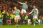 Christopher Jullien's goal was the difference between the 2 sides, seen here celebrating his teams win during the Betfred Scottish League Cup Final match between Rangers and Celtic at Hampden Park, Glasgow, United Kingdom on 8 December 2019.