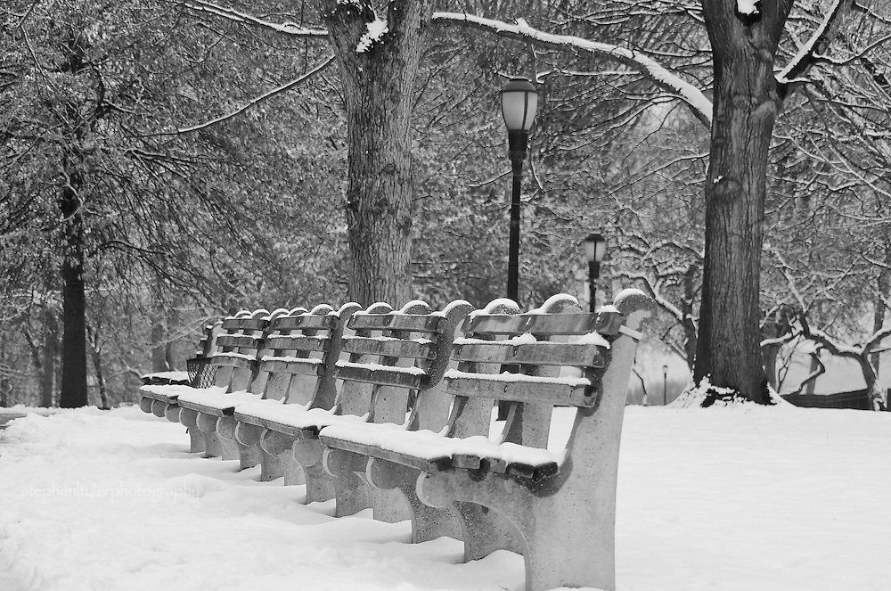 Snow covered park bench near Grant's Tomb Park; Washington Heights, New York
