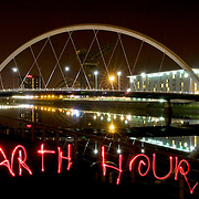 Light Writing for the World Wildlife Fund, during Earth Hour at the Clyde Arc or 'Squinty Bridge', Glasgow, March 2009
