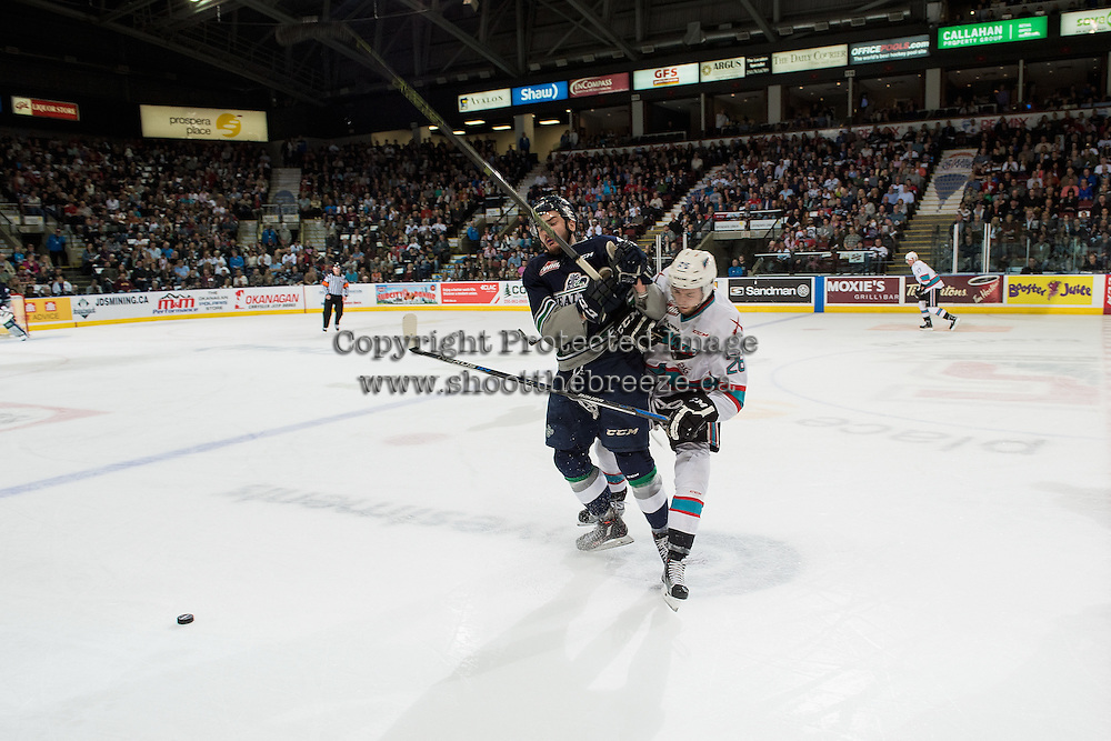 KELOWNA, CANADA - APRIL 22: Turner Ottenbreit #4 of Seattle Thunderbirds collides with Cole Linaker #26 of Kelowna Rockets on April 22, 2016 at Prospera Place in Kelowna, British Columbia, Canada.  (Photo by Marissa Baecker/Shoot the Breeze)  *** Local Caption *** Turner Ottenbreit; Cole Linaker;