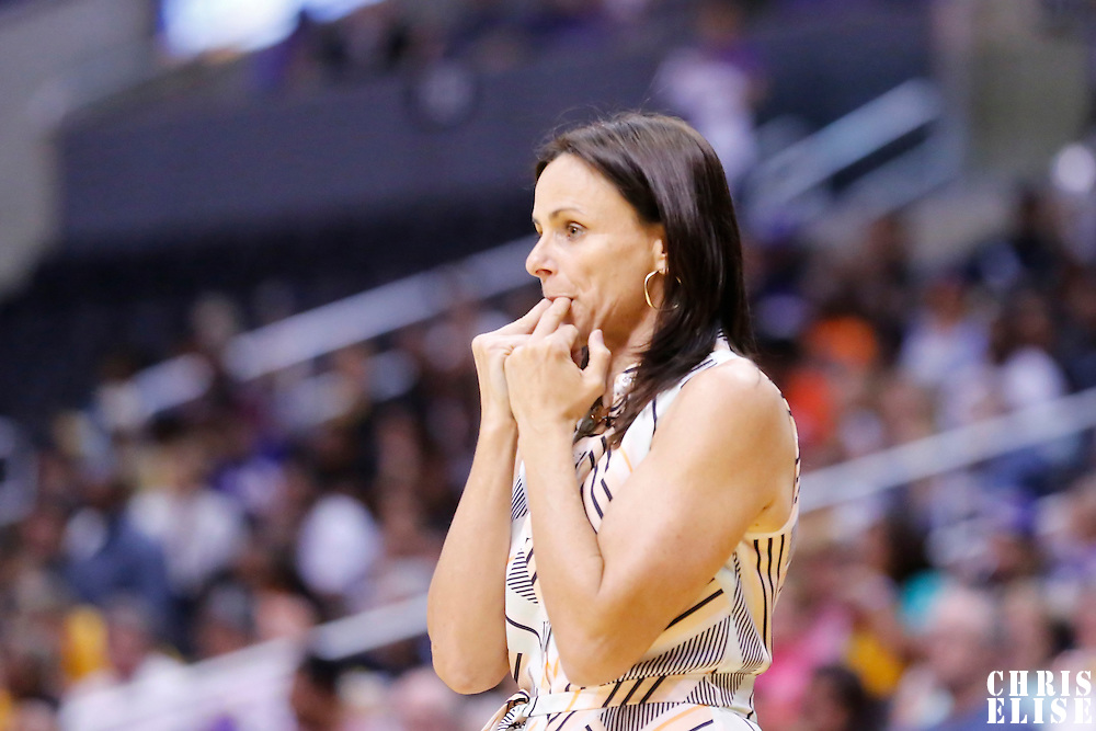 24 August 2014: Phoenix Mercury head coach Sandy Brondello is seen during the Phoenix Mercury 93-68 victory over the Los Angeles Sparks, in a Conference Semi-Finals at the Staples Center, Los Angeles, California, USA.