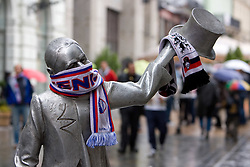Statue with Slovenian sign when fans celebrate in the Bratislava's streets before FIFA World Cup Qualifications match between Slovakia and Slovenia, on October 10, 2009, near Tehelne Pole Stadium, Bratislava, Slovakia.  (Photo by Vid Ponikvar / Sportida)