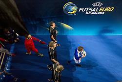 Ballboy during futsal quarterfinal match between National teams of Portugal and Azerbaijan at Day 8 of UEFA Futsal EURO 2018, on February 6, 2018 in Arena Stozice, Ljubljana, Slovenia. Photo by Urban Urbanc / Sportida