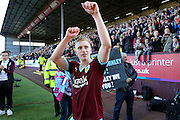 Burnley defender Ben Mee (6) celebrates during the Sky Bet Championship match between Burnley and Queens Park Rangers at Turf Moor, Burnley, England on 2 May 2016. Photo by Simon Davies.