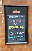 Advert for Brentford v Reading during the Sky Bet Championship match between Brentford and Reading at Griffin Park, London, England on 29 August 2015. Photo by Matthew Redman.