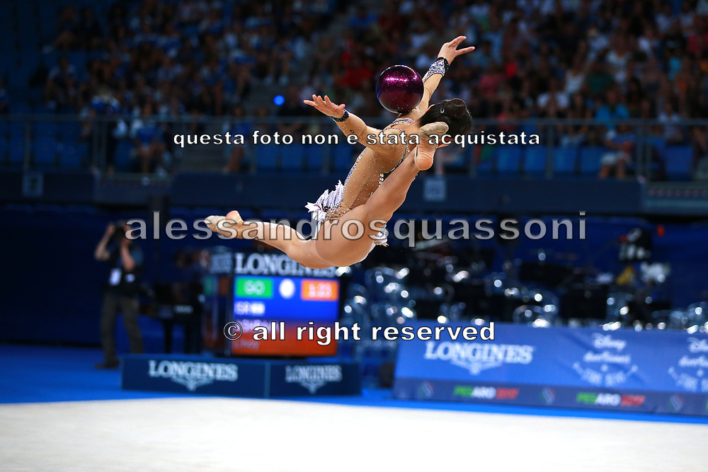 Ashram Linoy during final at ball in Pesaro World Championships at Adriatic Arena on September 01, 2017. Linoy is an Isrlaelian rhythmic gymnastics athlete born on May 13,1999 in Tel Aviv. Her targhet is to win Israel's first Olympic rhythmic gymnastics medal at the 2020 Olympic Games in Tokyo..