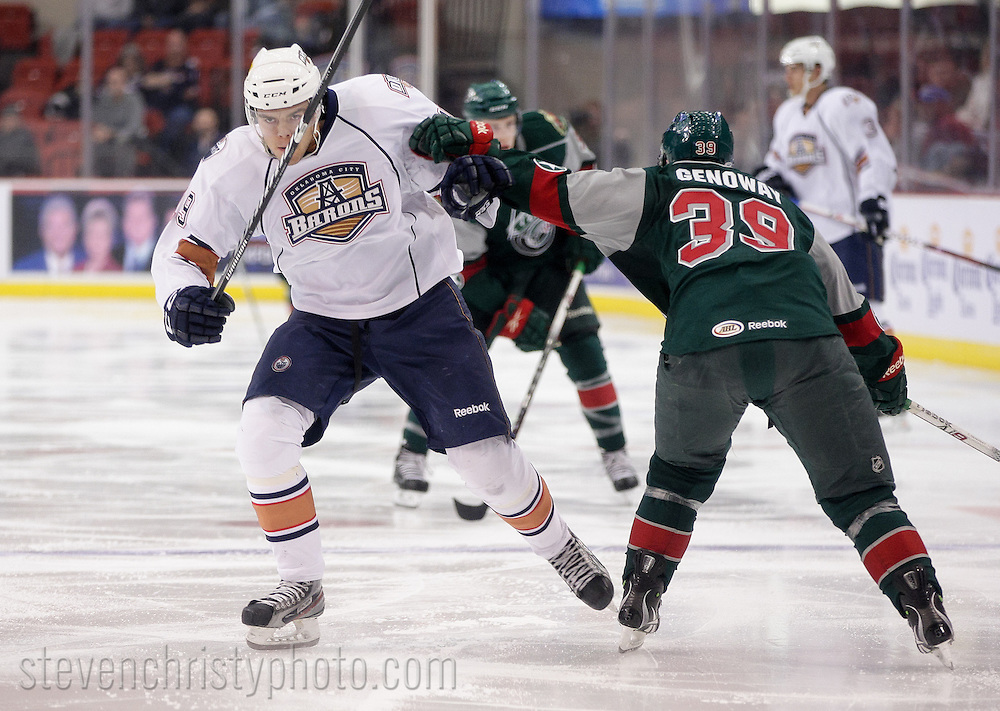 October 26, 2012: The Oklahoma City Barons play the Houston Aeros in an American Hockey League game at the Cox Convention Center in Oklahoma City.