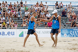 I GEMELLI INGROSSO ESULTANO.BEACH VOLLEY ITALIA - CIPRO.GIOCHI DEL MEDITERRANEO 2009.PESCARA 02-07-09.FOTO GALBIATI - RUBIN