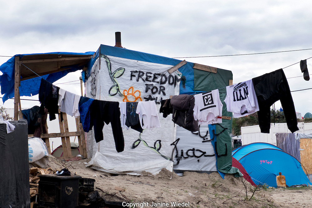"""Freedom for All"" Home in the The Calais Jungle Refugee and Migrant Camp in France"