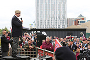 Robin E Horsfall Speaker and ex SAS during the Soldier F Protest at Media City, Salford, United Kingdom on 18 May 2019.