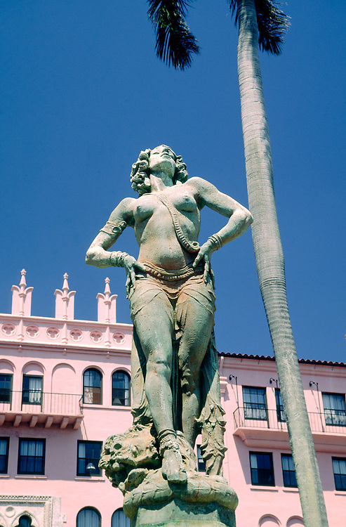 Boca Raton Club Hotel on east coast Florida, USA. Fountain figure in front of classic original Art Deco 1920s style building