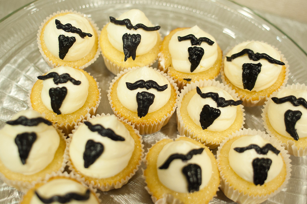 Cupcakes decorated with beardlike icing patterns during a press conference in Bend, Oregon on Saturday, June 5, 2010 at the Beard Team USA National Beard and Mustache Championships.
