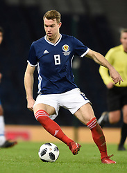 Scotland's Kevin McDonald in action during the international friendly match at Hampden Park, Glasgow. RESTRICTIONS: Use subject to restrictions. Editorial use only. Commercial use only with prior written consent of the Scottish FA.